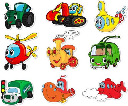 Set van vervoer: tractor, graafmachine, onderzeeër, helikopter, trein, trolleybus, vrachtwagens, schepen en vliegtuigen. Vector illustratie voor kinderen