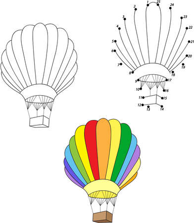 Cartoon balloon. Coloring and dot to dot educational game for kids. Vector illustration