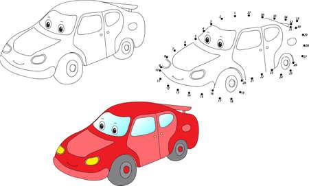 만화 자동차. 색칠 및 점은 아이들을위한 교육 게임을 점한다. 벡터 일러스트 레이 션 스톡 콘텐츠 - 45732510