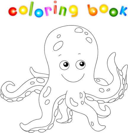 Lustige Und Freundliche Cartoon Krake. Malbuch Für Kinder Lizenzfrei ...