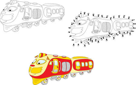 printable coloring pages: Cartoon train. Coloring and dot to dot educational game for kids. Vector illustration