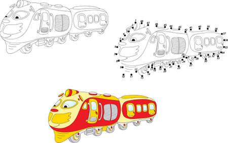 tren caricatura: Tren de la historieta. Pintura y punto a punto juego educativo para los niños. Ilustración vectorial