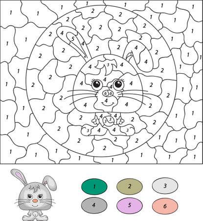 numeros: Color por el número de juego educativo para los niños. Liebre o conejo de dibujos animados. Ilustración del vector para escolar y preescolar