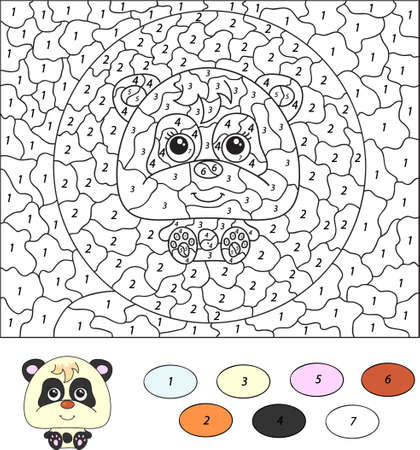 Color by number educational game for kids. Cartoon panda. Vector illustration for schoolchild and preschool