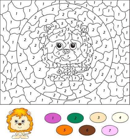 number of people: Color by number educational game for kids. Cartoon lion. Vector illustration for schoolchild and preschool