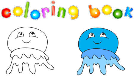 crayon: Funny and friendly cartoon jellyfish. Coloring book for kids