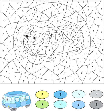 number cartoon: Color by number educational game for kids. Cartoon bus. Vector illustration for schoolchild and preschool