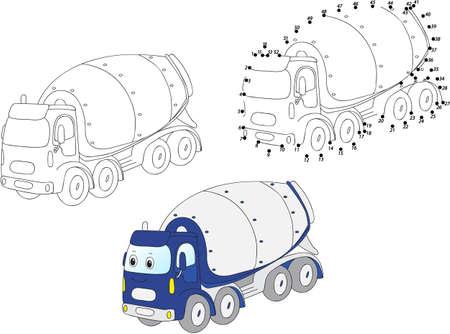 Cartoon betonmixer. Kleur en dot educatieve spel te stippelen voor kinderen. vector illustratie