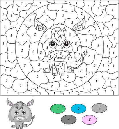 burro: Color por el n�mero de juego educativo para los ni�os. Burro de la historieta. Ilustraci�n del vector para escolar y preescolar Vectores
