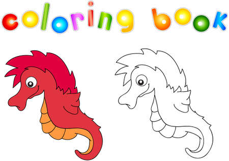 horsefish: Funny and friendly cartoon seahorse. Coloring book for kids