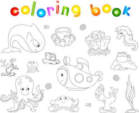 reefs: Underwater set. Ocean inhabitants and submarine. Octopus, jellyfish, starfish, sea-horse, reefs and corals. Coloring book for kids. Vector illustration