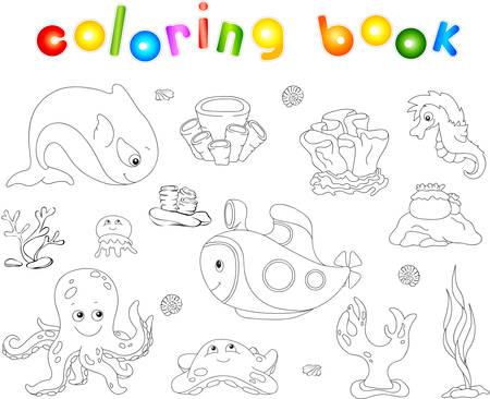 inhabitants: Underwater set. Ocean inhabitants and submarine. Octopus, jellyfish, starfish, sea-horse, reefs and corals. Coloring book for kids. Vector illustration