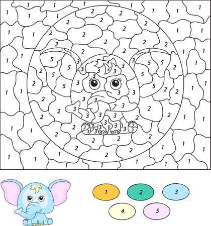 nombres: Couleur par numéro jeu éducatif pour les enfants. Éléphant de bande dessinée. Vector illustration d'écolier et préscolaire