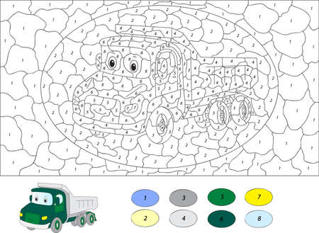 Color by number educational game for kids. Cartoon lorry. Vector illustration for schoolchild and preschool