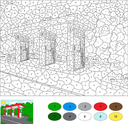 Color by number educational game for kids. Car gas or petrol station. Vector illustration for schoolchild and preschool