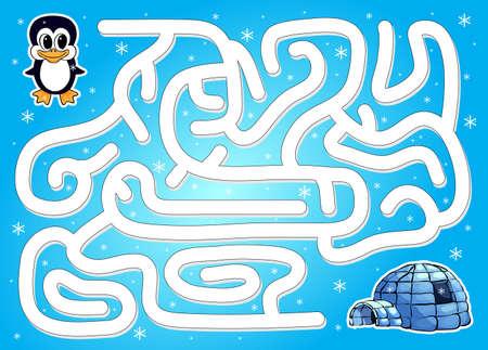 Ayuda pingüino para encontrar manera de iglú en un laberinto de invierno. Juego educativo para los niños. Ilustración vectorial Foto de archivo - 46741932