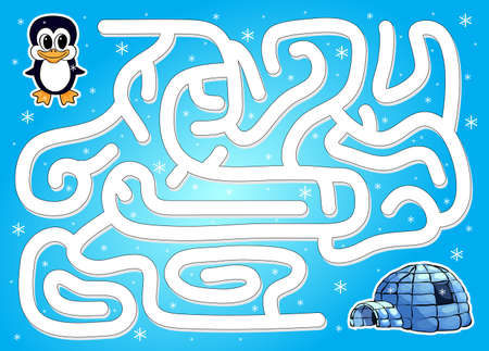 Penguins: Help penguin to find way to igloo in a winter maze. Educational game for children. Vector illustration