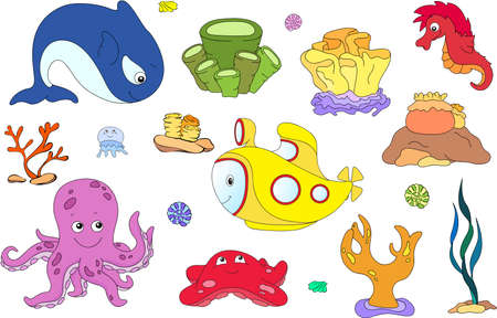 aqua: Underwater set. Ocean inhabitants and submarine. Octopus, jellyfish, starfish, sea-horse, reefs and corals. Vector illustration Illustration
