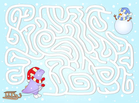 Help dinosaur to find way to his friend snowman in a winter maze. Educational game for children. Vector illustration