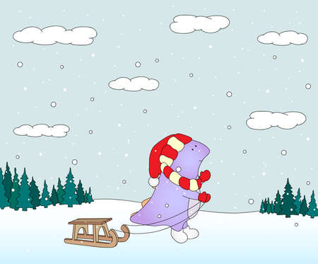 christmas dragon: Cute chubby dragon with sled in a snowy forest. Christmas postcard. Vector illustration Illustration