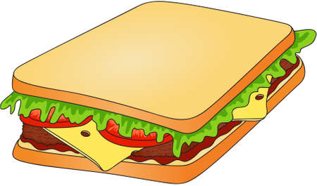 sandwich bread: Sandwich. Bread with cheese, tomato, meat and salad. fast food. Vector illustration Illustration