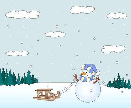 Cute snowman dragon with sled in a snowy forest. Christmas postcard. Vector illustration