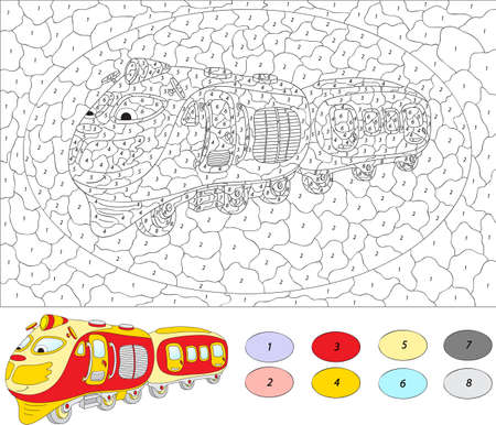 play of color: Color by number educational game for kids. Cartoon train. Vector illustration for schoolchild and preschool