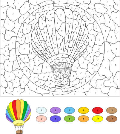 Color by number educational game for kids. Cartoon balloon. Vector illustration for schoolchild and preschool