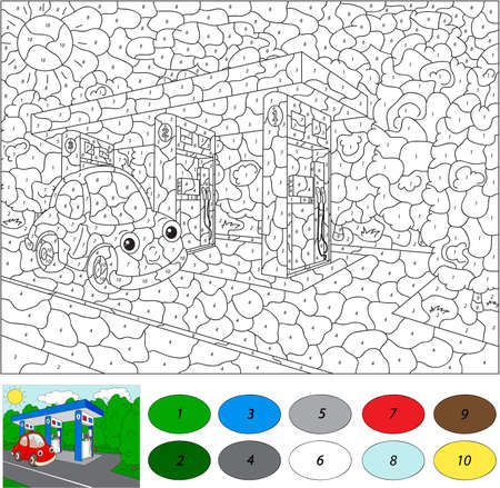 car gas: Color by number educational game for kids. Car gas or petrol station. Vector illustration for schoolchild and preschool