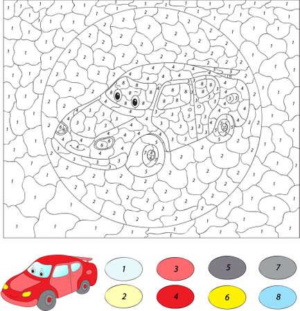 nombres: Couleur par num�ro jeu �ducatif pour les enfants. Voiture de bande dessin�e. Vector illustration d'�colier et pr�scolaire