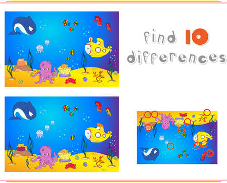 ocean floor: Underwater world, ocean floor with octopus, submarine, whale, fish, corals and sea shells. Educational game for kids: find ten differences. Vector illustration