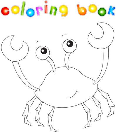 cangrejo caricatura: Funny cute cartoon crab. Educational coloring book. Vector illustration