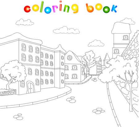 旧市街の通り。アーキテクチャについての子供のための塗り絵。ベクトル図  イラスト・ベクター素材