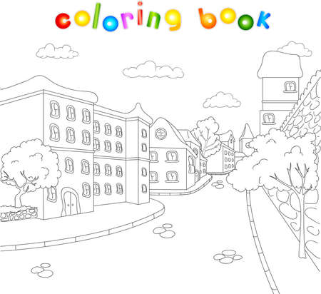 The streets of the old town. Coloring book for kids about architecture. Vector illustration