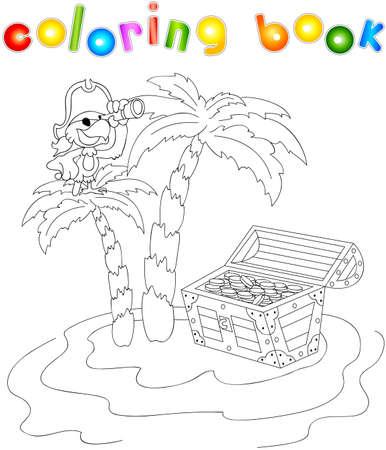 Cofre Del Tesoro Y Las Palmas En La Isla. Libro Para Colorear Para ...
