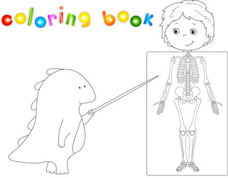 whose: Doctor dragon and patient whose body is shown in the X-ray. Coloring book for kids about anatomy and structure of the human skeleton. Vector illustration