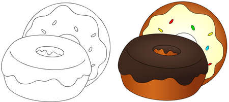 glaze: Sweet and tasty donuts with glaze. Coloring book for kids about food. Vector illustration