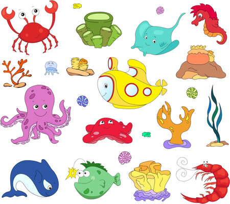 cachalot: Ocean inhabitants and submarine. Octopus, jellyfish, starfish, sea-horse, reefs, crab, shrimp, rays, fish angler and corals in the ocean. Vector illustration about underwater world