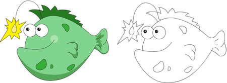 angler: Funny and friendly cartoon fish angler. Coloring book. Vector illustration