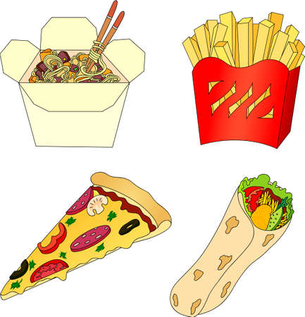 chinese fast food: Pizza, papas fritas, fideos chinos en una caja y shawarma. Comida r�pida. Ilustraci�n vectorial Vectores