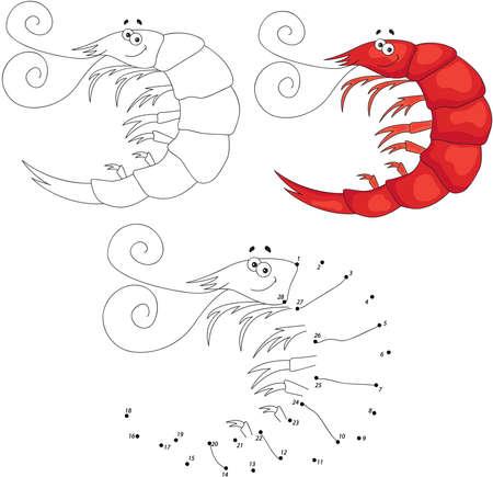 coloring sheets: Cartoon smiling shrimp. Dot to dot educational game for kids. Vector illustration