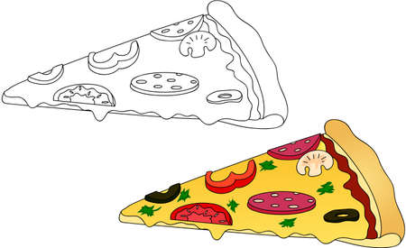 white party: Pizza with salami, tomato, mushrooms, peppers, olives. Coloring book for kids about food. Vector illustration