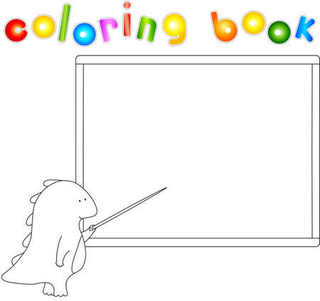 educative: Dragon with pointer at the school board. Coloting book. Vector illustration