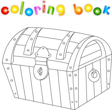 Libro Para Colorear Cofre Del Tesoro Para Los Niños. Ilustración ...