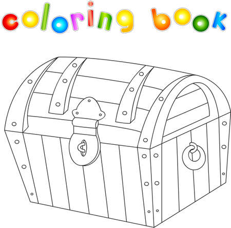 Treasure Chest Coloring Book For Kids. Vector Illustration Royalty ...