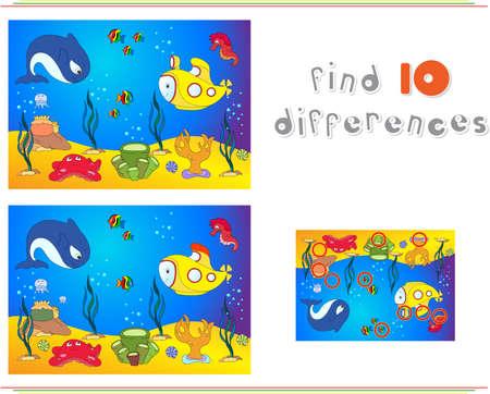 水中の世界、タコ、潜水艦、クジラ、魚、サンゴ、海の貝殻で海の底。子供のための教育ゲーム: 10 の違いを見つけます。ベクトル図