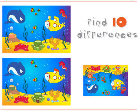 Underwater world, ocean floor with octopus, submarine, whale, fish, corals and sea shells. Educational game for kids: find ten differences. Vector illustration