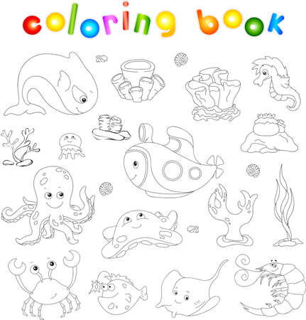 angler: Ocean inhabitants and submarine. Octopus, jellyfish, starfish, sea-horse, reefs, crab, shrimp, fish angler and corals in the ocean. Coloring book for kids. Vector illustration