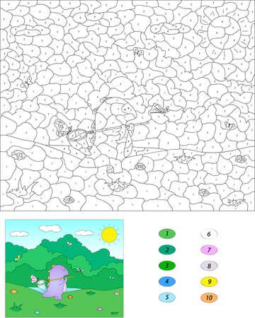 nombres: Couleur par numéro jeu éducatif pour les enfants. Dragon violet avec un filet pour les papillons. Vector illustration d'écolier et préscolaire