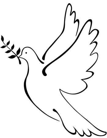 A dove carries an olive branch logo. Vector illustration Vettoriali